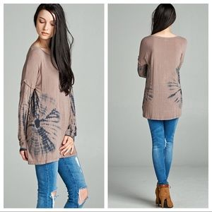 Mocha tie dye long sleeve tunic